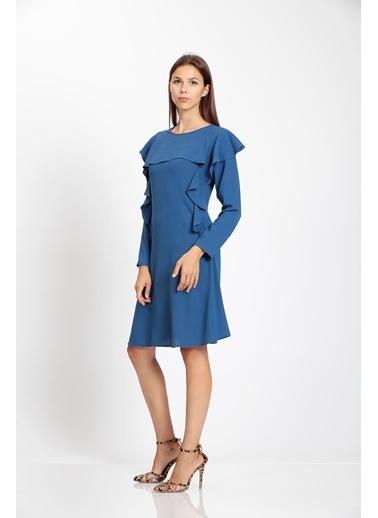 Vitrin Volan Detaylı Çan Elbise İndigo